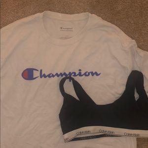 Other - Calvin Klein bra & champion shirt!